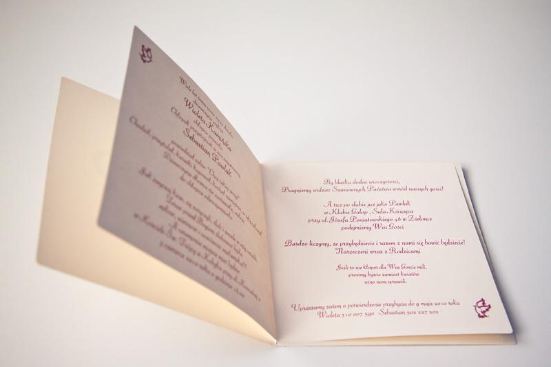 Zaproszenie - Sebka i Wiolki otworzone