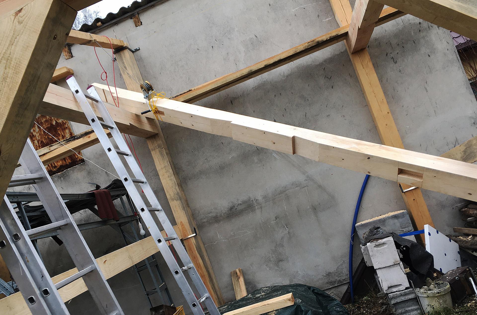 Wciąganie ciężkiej belki 18x18cm